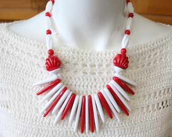 Vintage 80s red and white retro jewelry retro necklace