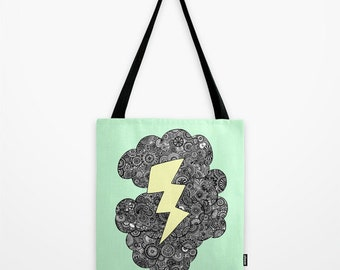 Mint Storm Lightning Cloud Tote Bag / Cloud Tote Bag / Lightning Tote Bag / Double Sided Tote - Beach Bag, Yoga Bag, Reusable Grocery Tote