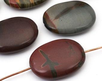 7 pcs flat oval red creek jasper beads, brown black green semiprecious 24mm