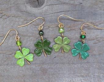 Hand Painted Shamrock Earrings, Irish/St. Pattys Earrings, Four Leaf Clover Earrings, Celtic Earrings, Vineyard Jewelry, Lightweight Brass