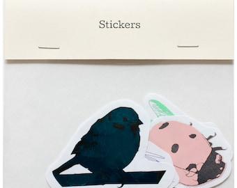 Sticker Set by Fiona Hamilton - Featuring 4 x Birds, Insects, Rodents - Metallic & Matte Foils, Ladybird, Bluebird, Sparrow, Mouse