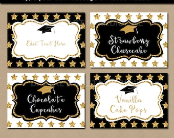 Elegant Graduation Candy Buffet Labels, Graduation Food Labels, Graduation Place Cards, Editable Food Tags, Tent Cards, Name Cards G10