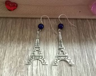 Blue beads and Eiffel Tower earrings