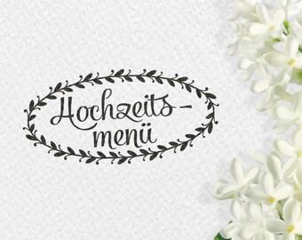 Hochzeitsmenü Stempel, Holzstempel, 60x30mm, Rahmen, Blätter, Blätterrahmen, Hochzeit, Stempel, Menüstempel, MENUST, BRHS2