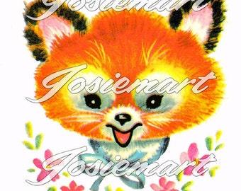 Vintage Digital Download Fox Kawaii Vintage Image Collage Large JPG