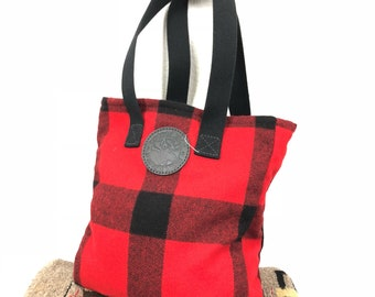 duluth pack wool red plaid tote bag made in usa