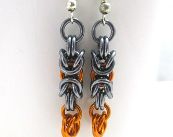 Orange and Black Ice Byzantine Chainmaille Earrings - Ready to Ship