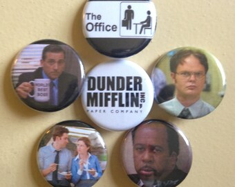"""The Office pin back buttons 1.25"""" set of 6"""