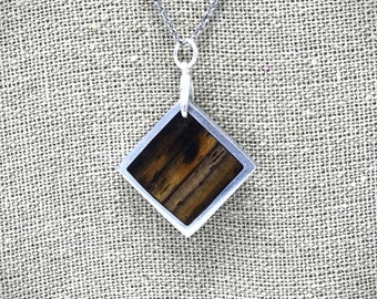 Exotic Cocobolo and aluminum necklace pendant
