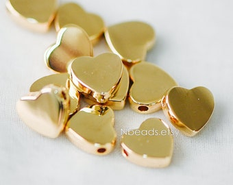 10pcs Real Gold plated Brass Heart Beads 9mm, Drill throught Heart Charms, Lead Nickel Free (GB-216)