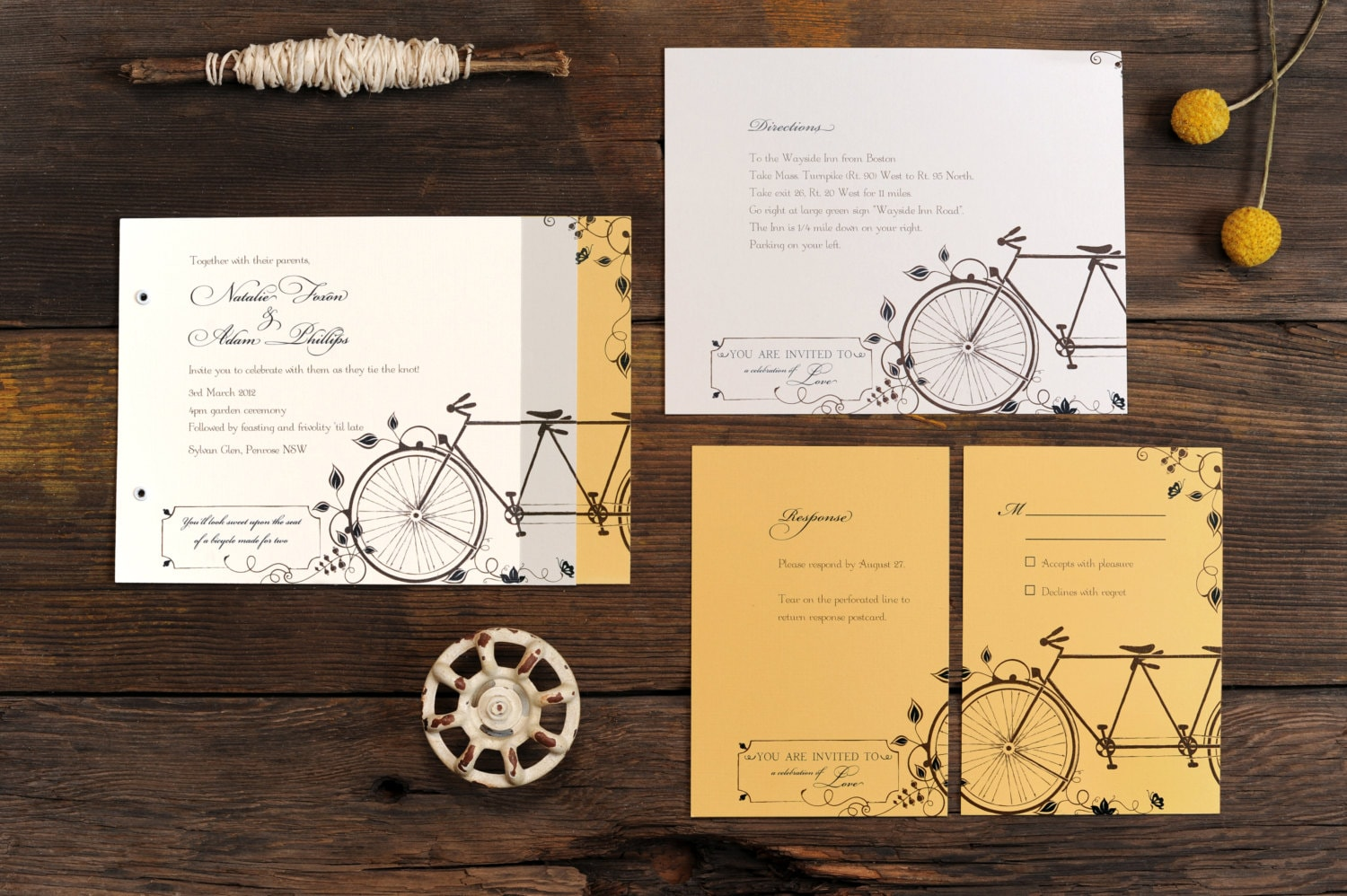 Tandem Bicycle Wedding Invitations Bike Invite Vintage