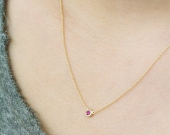 0.16CT Solitaire Ruby Necklace, July Birthstone Necklace, Gemstone Ruby Necklace, Ruby Bezel Necklace, Dainty Gemstone Necklace, Ruby Choker