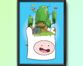 Buildings On The Brain | Treehouse | Adventure Time | art print | A4 | Finn The Human | Jake The Dog | Geek artwork | poster | wall art