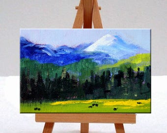 Mountain Pasture Landscape Oil Painting, Original 4x6 Miniature, Small Canvas, Blue Sky, Green Trees, Little Rural Country Scene