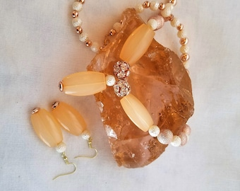 Peach copper necklace and earring beaded set