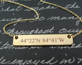 Personalized Gold bar necklace...Engraved Bar, sorority, best friend gift, wedding, bridesmaid gift