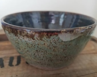Handmade pottery bowl. Blue and aqua wheel thrown pottery.  Soup bowl, cereal bowl, ice cream bowl.  Dinnerware.