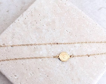 Small coin necklace, 14k gold filled, delicate necklace, gift for her, gold coin, Unique necklace, birthday gift