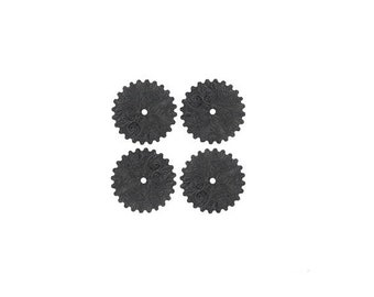 50off Steampunk FILIGREE FLORAL Cog Gears in Black Brass 25mm Qty 4 Assemblage Altered Art Made in the Usa