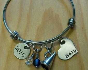 Hand Stamped Personalized Cheerleading Wire Bangle Bracelet -  Adjustable Bracelet - Cheer Gifts - Cheerleader Gift