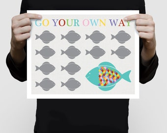 fish art poster print colourful kids nursery art ocean sea life, go your own way saying, children's art, baby girl or boy gender neutral art