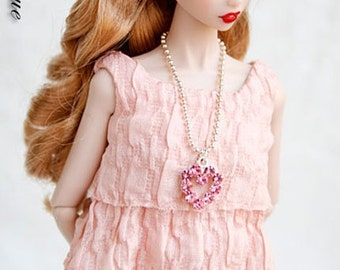 Pink Heart-shaped Charm Necklace