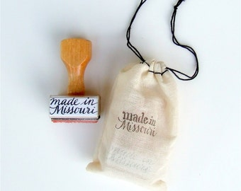 "made in Missouri rubber stamp, made in America ""calligraphy"" stamp, handmade wood handle stamp"