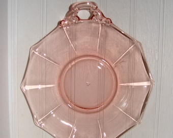 Cambridge Elegant Pink Decagon Handled Serving Tray Platter Glass Dish