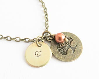 Personalized Tree of Life necklace, initial necklace, vintage style monogram necklace, family necklaces, gift for her, mom gifts