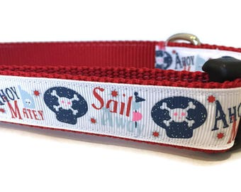 Dog Collar, Sail Away,  1 inch wide, adjustable 18-26 inches, quick release