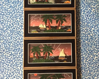 A Set of Four Vintage Seascape Collages Featuring Palm Trees