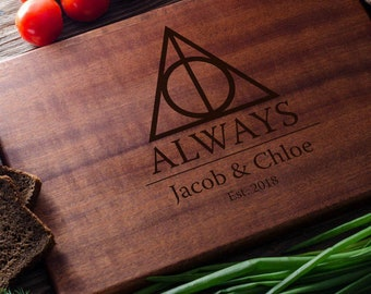 Harry Potter Personalized Cutting Board Personalized Custom Cutting Board Wedding Gift Cutting Board Deathly Hallows Harry Potter harry07