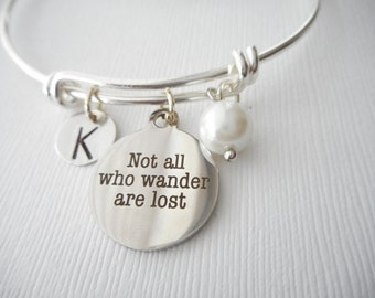 Not All Who Wander are Lost, Pearl- Initial Bangle/ Friendship gift, Going Away Gift Her, Friendship Jewelry, Birthday gift