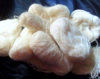 Nine 3 Gram Balls of a Creamy White Mohair Yarn, Vintage