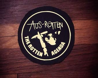 AUS-Rotten Logo Band Patch Hardcore Punk Crust Punk