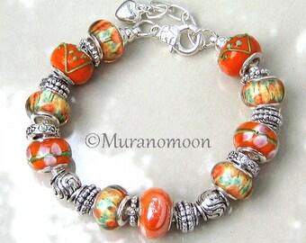 Orange Blossom European Style Charm Bracelet Large Big Hole Glass Bead Personalized Silver Charm Bracelet For Grandma Aunt Mother EB1498