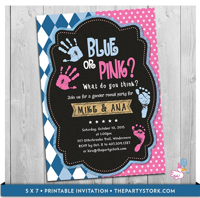 Blue or Pink Gender Reveal Party Invitation Printable What