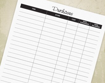 Purchases Tracker Printable PDF, Track Purchases, Purchases Log, Spending Log, Shopping Log, A4, Letter, Digital File, Instant Download