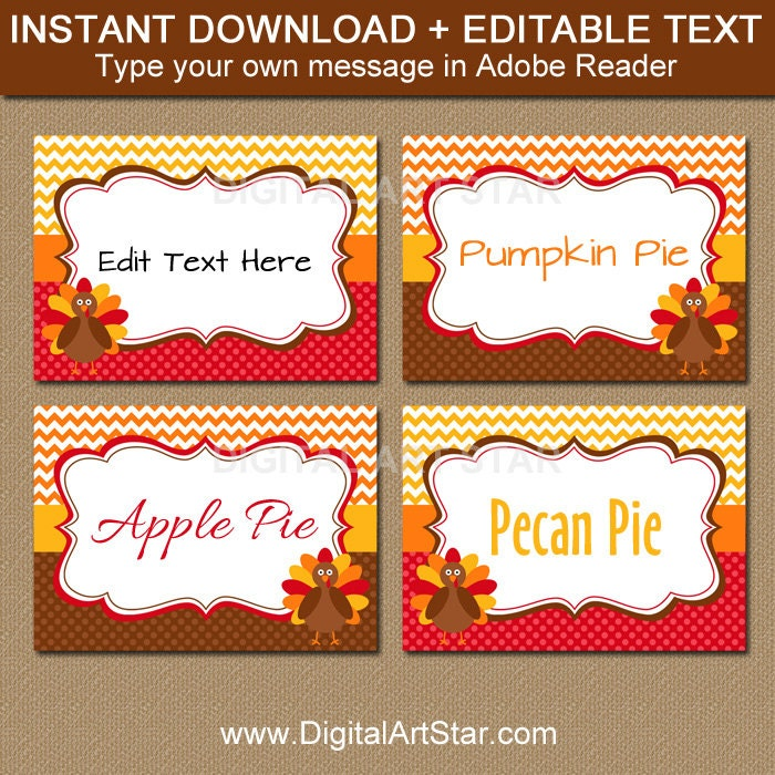Printable thanksgiving food tags turkey labels editable zoom pronofoot35fo Choice Image