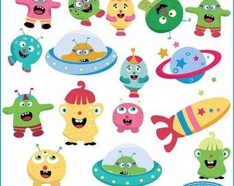 50%OFF Alien monsters clip art set, monster clip arts, kids clip arts, monster illustrations, C273