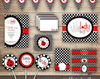 Ladybug Baby Shower PARTY PACKAGE / Baby Girl Shower / Baby Shower Party  Kit   Printable