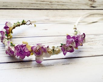 Handcrafted Lilac Purple and Ivory Flower Crown - Woodland Halo - Flower Girl Crown - Prom Accessory - Renaissance Headband - Wedding Bows