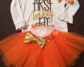 Baby Girl Thanksgiving Outfit, Girl 1st Thanksgiving Outfit, Girl First Thanksgiving Outfit, Girl My First Thanksgiving Outfit