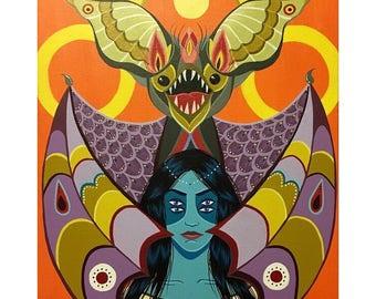 """Bat Queen 11"""" x 14"""" Painting"""
