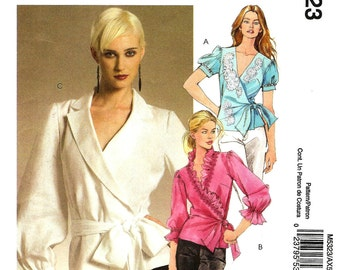 OOP Wrap Around Shirt Sewing Pattern, Sizes:  4 -6 -8 -10 -12, Sleeve and Front Variations - McCalls M5323  - UNCUT