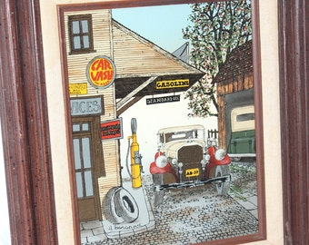 "Standard Oil H. Hargrove Serigraph Print -- 14.5"" x 12.5"" Framed -- Service Station, Car Wash, Gasoline, Auto, Car -- Painting, Picture"