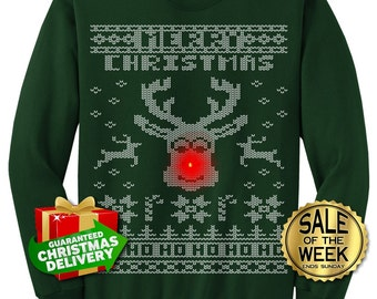 """Rudolph """"LIGHT UP"""" Ugly Christmas Sweater party -  Men, Ladies, unisex in Black, Dark Green, Navy, Red, Hot Pink  s,m,l,xl, xxl, 3xl"""