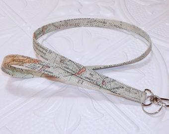 Map Lanyard - Badge Holder - Id Holder - Key Lanyard - Teacher Lanyard - Fabric Lanyard - Keychain - Lanyard For Keys - Gift For Him