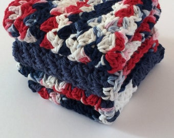 Crochet Washcloth, Ecofriendly Cleaning, 4th of July Gift, Facial Cloth, Mom Present, Reuseable Organic Cloth, Cleaning Rag, Ecofriendly Rag