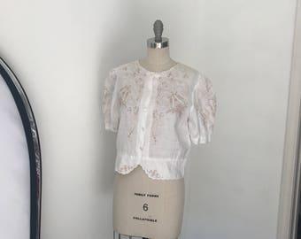 Vintage 70's Crisp White Linen Embroidered Blouse l M